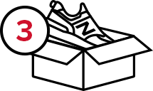 New Balance icon of step three, a shoe going into a shipping box.